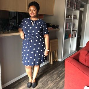 Polka dot shirt sleeve dress